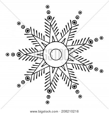 Vector Hand Drawn Illustration Of Snowflakes Black And White Winter Decorative Doodle Flake