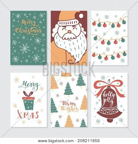 Vector Merry Christmas greeting cards and invitations  isolated on background. Set with cute Xmas tree, gift, garland, Santa and bell hand drawn designs. Vector elements for Xmas design.