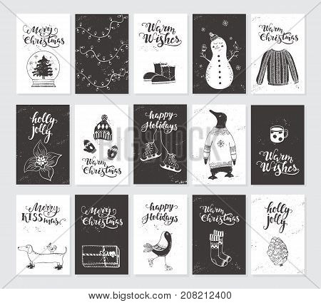 Vector Merry Christmas black and white greeting cards and invitations  isolated on background. Big set with cute snowman, bird and garland hand drawn designs. Vector elements for Xmas design.