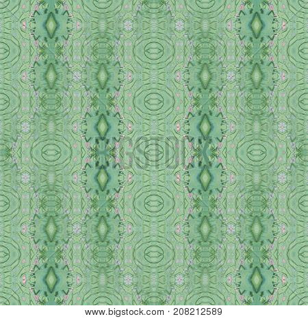 Abstract geometric background. Regular ellipses and diamond pattern pastel green and pink vertically.