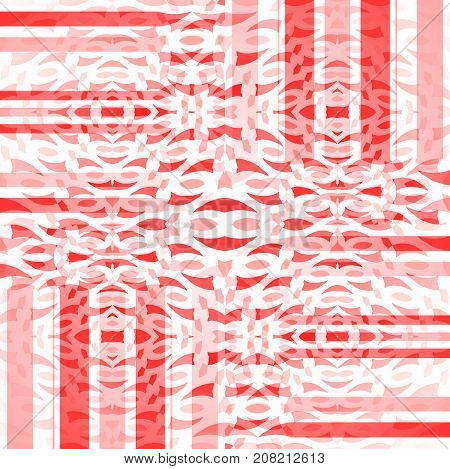 Abstract geometric background. Regular intricate stripes and ellipses pattern white, pink and red, shifted and overlaying.