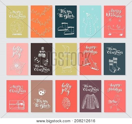 Vector Merry Christmas greeting cards and invitations  isolated on background. Big set with cute snowman, bird and garland hand drawn designs. Vector elements for Xmas design.