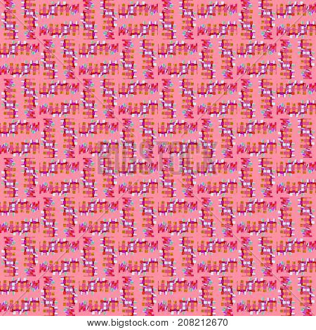 Abstract geometric seamless background. Regular intricate squares pattern violet, red, light blue and green on pink.