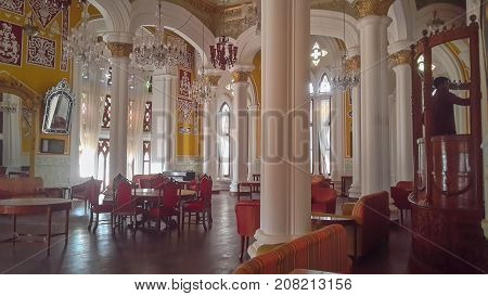 BENGALURU INDIA - FEBRUARY 20 2017: Interior decoration of famous Bangalore Palace. It was private residence of the royal Wodeyar family. It is filled with rare collection of art and paraphernalia from a bygone era.