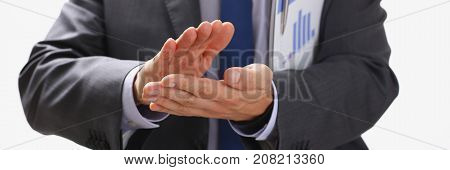The businessman applauds at a seminar to the lecturer who has perfectly acted and has presented correctly desirable information for promotion of business of a certain direction of increase of sales