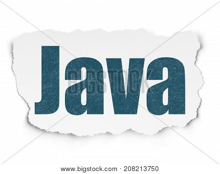 Software concept: Painted blue text Java on Torn Paper background with  Tag Cloud