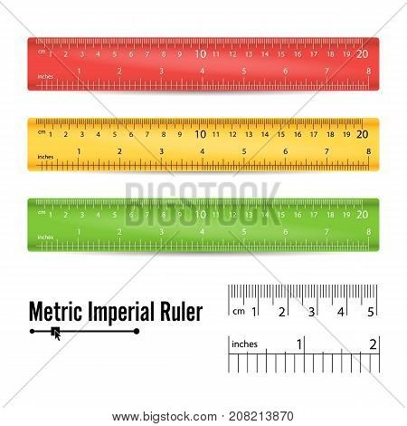 School Plastic Ruler Vector. Measure Tools Equipment. Colorful. Centimeters, Inches Scale. Isolated Illustration