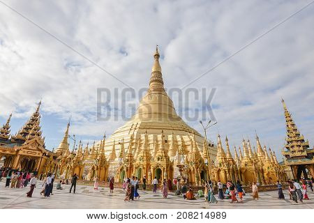 17 december 2016 yangon city myanmar shwedagon paya pagoda fomous place for buddhism people.there is place for worship and international landmark for tourism travel destination in yangon old capital city of myanmar