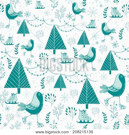 Vector winter seamless pattern.Cute hand drawn snowmen and garland. Perfect for greeting cards, postcards, wrapping paper texture, silhouette.Christmas holidays pattern.