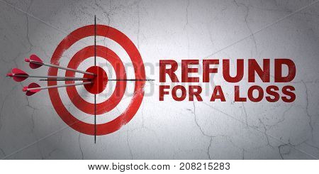 Success Insurance concept: arrows hitting the center of target, Red Refund For A Loss on wall background, 3D rendering