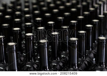 horizontal perspective view closeup of corked red wine bottles in rows on the production line at the winery