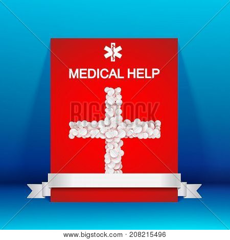 Abstract pharmaceutical template with medical cross from pills drugs and silver ribbon isolated vector illustration