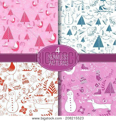 Vector set of winter seamless pattern. Perfect for greeting cards, postcards, wrapping paper texture, silhouette.Christmas holiday patterns.