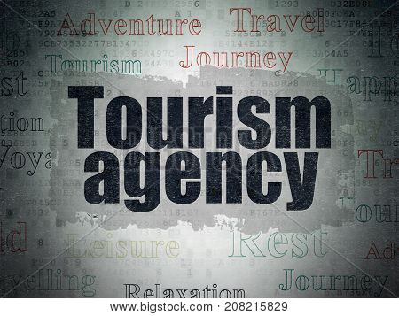 Tourism concept: Painted black text Tourism Agency on Digital Data Paper background with   Tag Cloud
