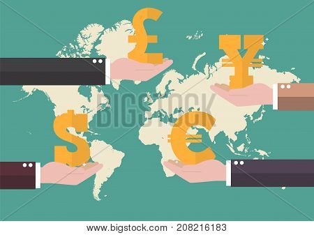Currency exchange concept with world map background. Business concept