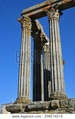 The Roman Temple Of Evora Also Referred To As The Templo De Diana Is An Ancient Temple In The Portug