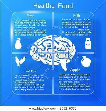 Useful food infographics with products icons healthy for human brain on blue background vector illustration