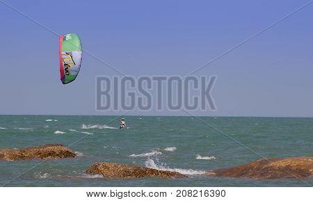 Hua-Hin, Thailand - April 15, 2011: Surf Parachute at Hua-Hin beach