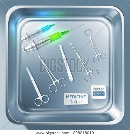 Surgery equipment concept with syringes scalpel forceps scissors in metal sterilizer isolated vector illustration
