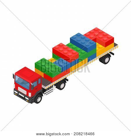 Consolidated freight. Isometric red large truck with trailer and plastic bricks. Low poly style.