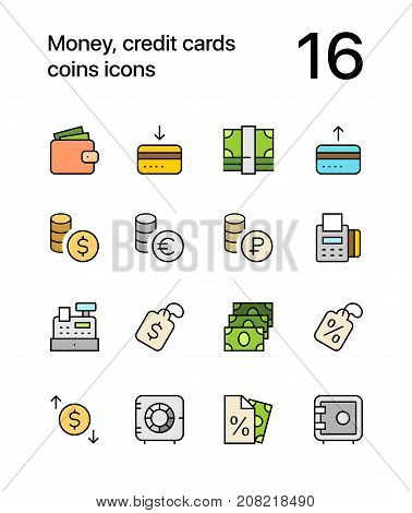 Colored Money, credit cards, coins icons for web and mobile design pack 2
