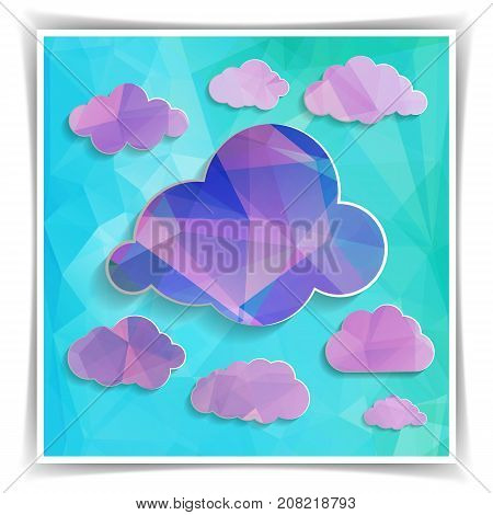 set of Polygonal clouds on the Abstract Blue Triangular background