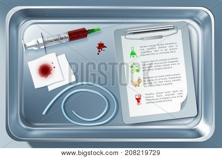 Medical tool concept with suringe bandage notepad tourniquet in sterilizer after taking blood procedure isolated vector illustration