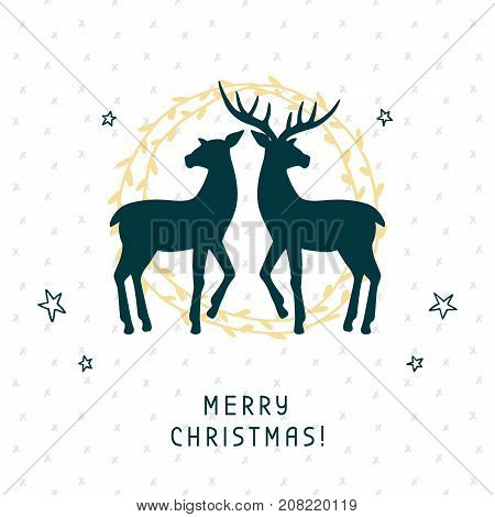 Merry Christmas greeting card with calligraphy hand drawn silhouettes of two deer. Christmas holiday party banner, invitation. Vector Illustration