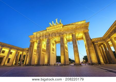 Berlin Night City Skyline At Brandenburg Gate (brandenburger Tor), Berlin, Germany
