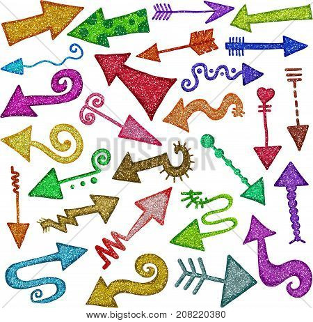 A set of metallic glitter arrow shapes for decorating page content and projects.