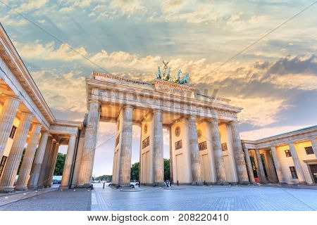 Berlin Sunset City Skyline At Brandenburg Gate (brandenburger Tor), Berlin, Germany