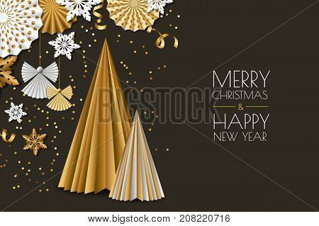 Merry Christmas, New Year Greeting Card. Vector Golden Paper Decoration Snowflakes, Christmas Tree,
