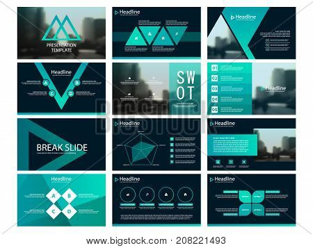Green Abstract triangle presentation templates Infographic elements template flat design set for annual report brochure flyer leaflet marketing advertising banner template