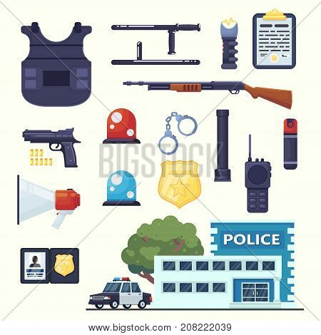 Police professional equipment set. Handcuffs bulletproof vest electro shocker truncheon badge weapons station car and other element eps10