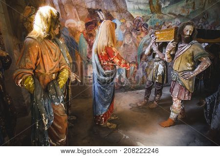 biblical scene representation (presepe) of the raising of the son of the widow of Nain (Sacro Monte di Varallo Piedmont Italy May 24 2017)