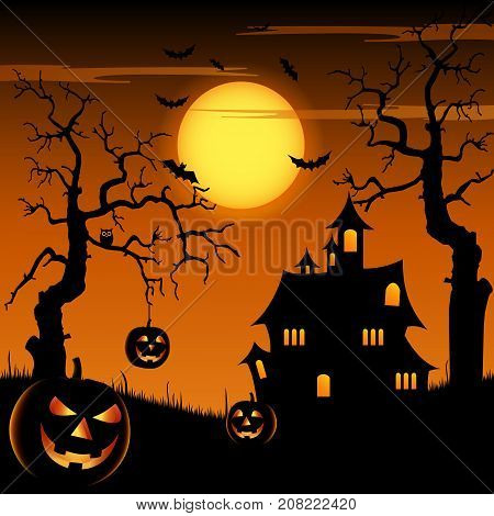 Halloween night with grinning pumpkins and scary castle on background vector eps 10