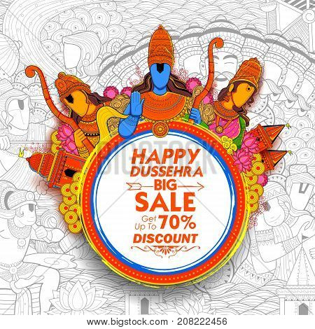 illustration of Lord Rama, Laxmana and Sita Lord Rama in Navratri festival of India for Happy Dussehra Sale Promotion offer