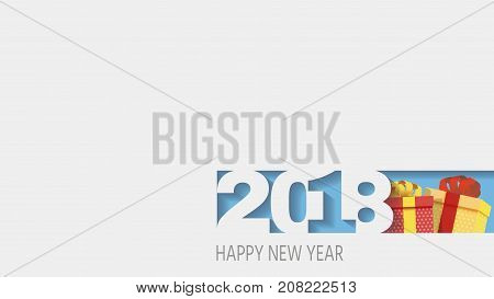 2018 Happy new year. Happy New Year Banner with 2018 Numbers.gifts 3d. Vector illustration.