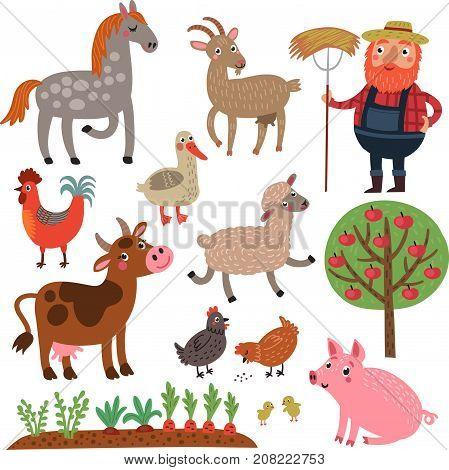 Animals farm vector set. Farm animals and farmer