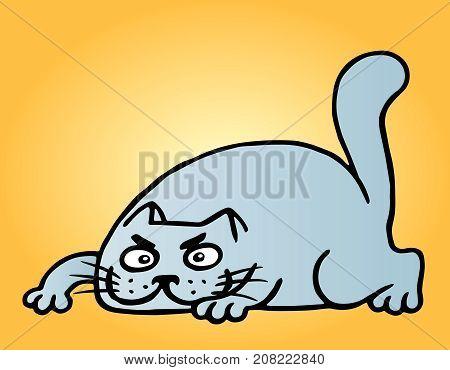 Funny cartoon blue cat hunter. Vector illustration. Cheerful animal pet.