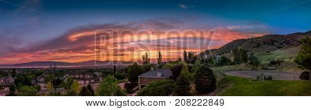 Sunset panorama of Utah Valley and mountains at Dusk as seen from Lindon Utah USA.