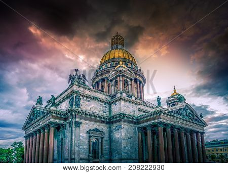 St Isaac's Cathedral Saint Petersburg Russian Federation on a stormy dy with a dramatic sky