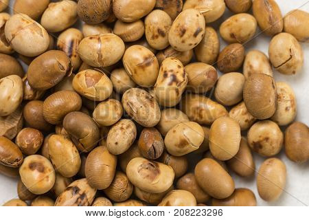 Closeup Macro Of Soya Beans On The White Marble Background