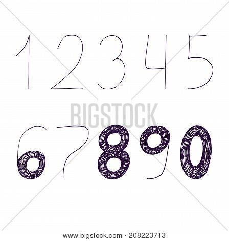 Vector hand drawn with ink and nib numbers sequence from 1 to 9