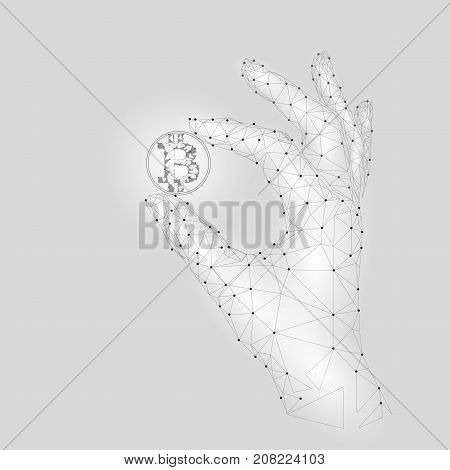 Low poly hand hold bitcoin carefully. Polygonal triangle connected dot point white gray cryptocurrency coin. Finance business offer gain blockchain profit concept vector illustration art