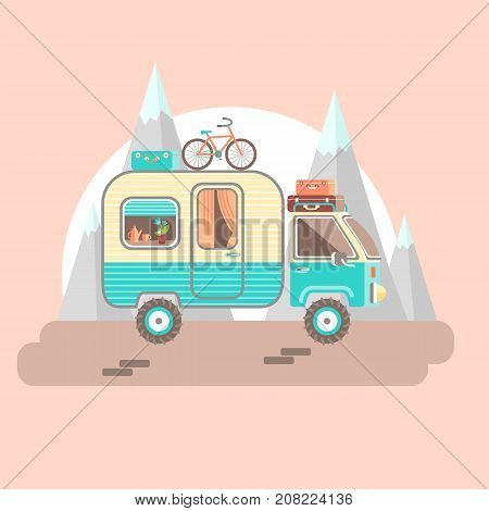 Mobile recreation. House on wheels. Transport trailer vector with the luggage, bright fresh colors. Flat style. Morning trip, pastel colors. Mountains and sunrise.