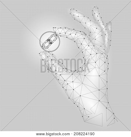 Low poly hand hold blockchain link symbol carefully. Polygonal triangle connected dot point white gray cryptocurrency coin. Finance business offer gain profit concept vector illustration art