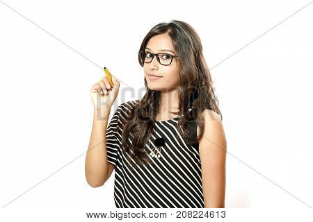 indian young collage girl on white background