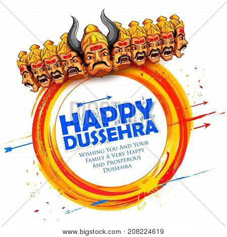 illustration of Raavana with ten heads for Navratri festival of India poster with Hindi text meaning wishes for Dussehra