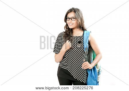 indian girl with bag , indian collage student